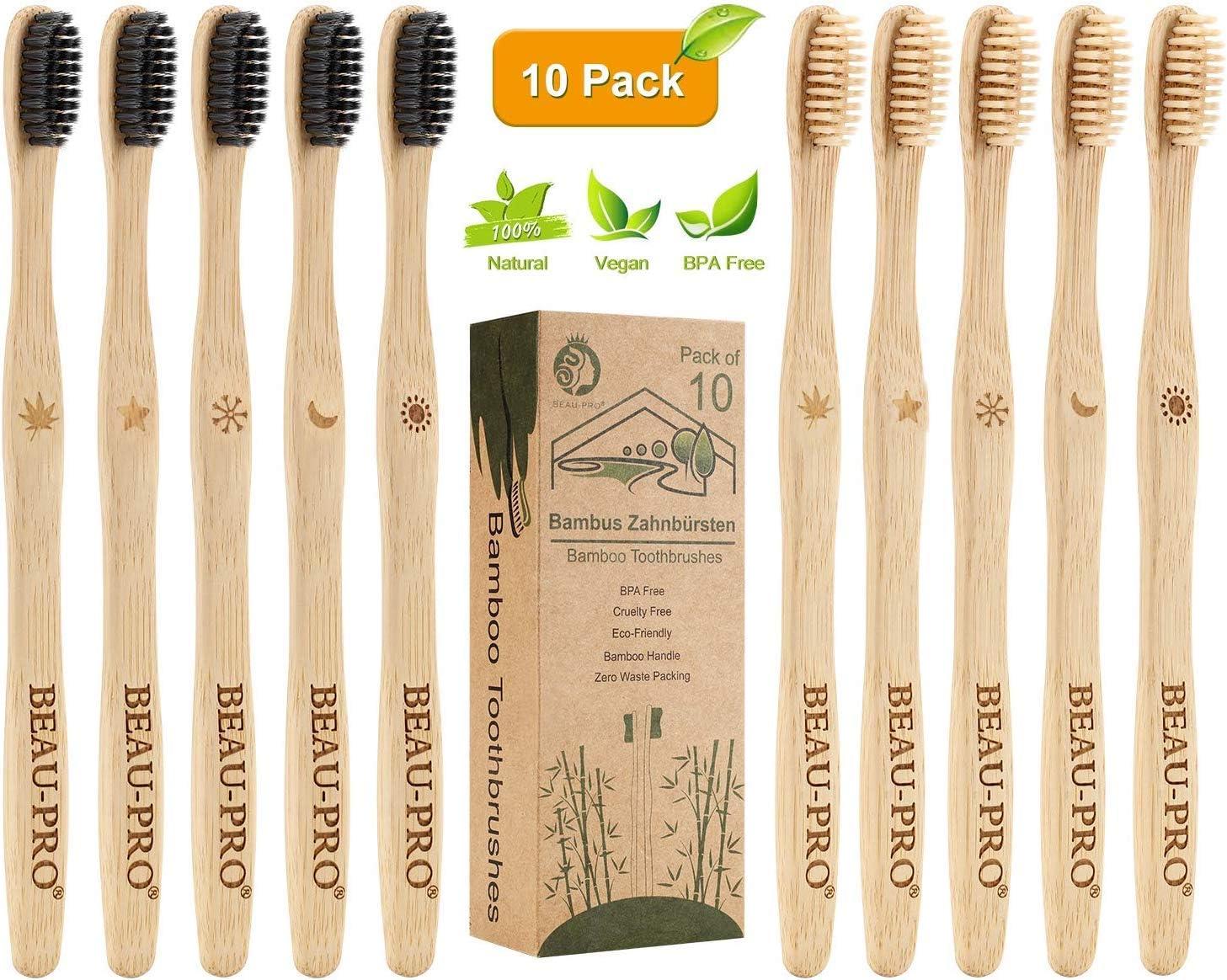 Cepillo Dientes Bambu, Paquete de 10 Cepillos de Dientes, 5 cepillo de carbón bambú y 5 cepillo de fibra bambú, 100% Libre de BPA, Cepillos de Dientes Naturales y Veganos para Una Mejor Limpieza