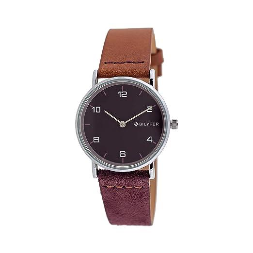 Reloj Bilyfer para Mujer con Correa en Marron y Pantalla en Morado 1F659-L: Amazon.es: Relojes