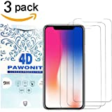 iPhone X Screen Protector PAWONIT iPhone X Tempered Glass Screen Protectors Film Definition 9H Anti-Scratch Bubble Free Screen Protector Glass for Apple iPhone X (3 Pack)