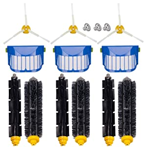 for iRobot Roomba 600 620 630 650 660 Robotic Vacuum Cleaner Parts Replenishment Mega Accessories Bristle & Flexible Beater Brushes& 3-Armed Brushes & Aero Vac Filters Kits
