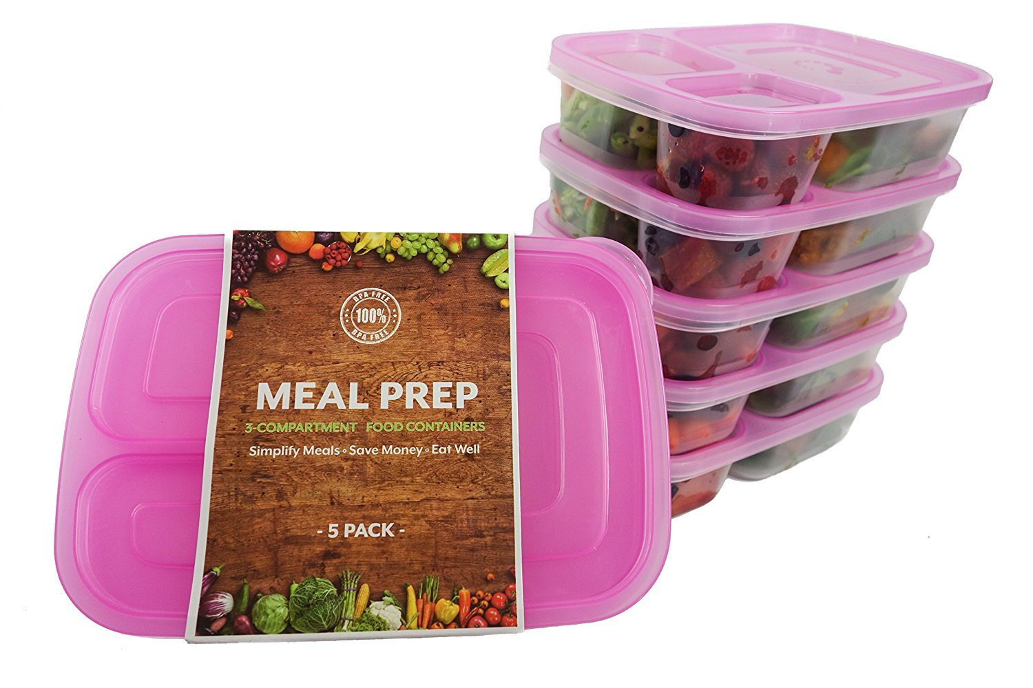 (5-Pack) TOP QUALITY, BPA FREE | 3-Compartment Stackable MEAL PREP CONTAINERS + Blue Lids | Reusable Japanese Bento Lunch Box | Portion Control Food Storage | SAFE for Kids | Healthy Food Prep Boxes Turning to Wellness COMINHKPR110024