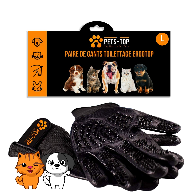 One Pets-Top - Par de guantes de cepillado para animales (perro, gato, caballo, conejo), anti bolas de pelo, elimina el pelo corto y largo, eficaz y ...
