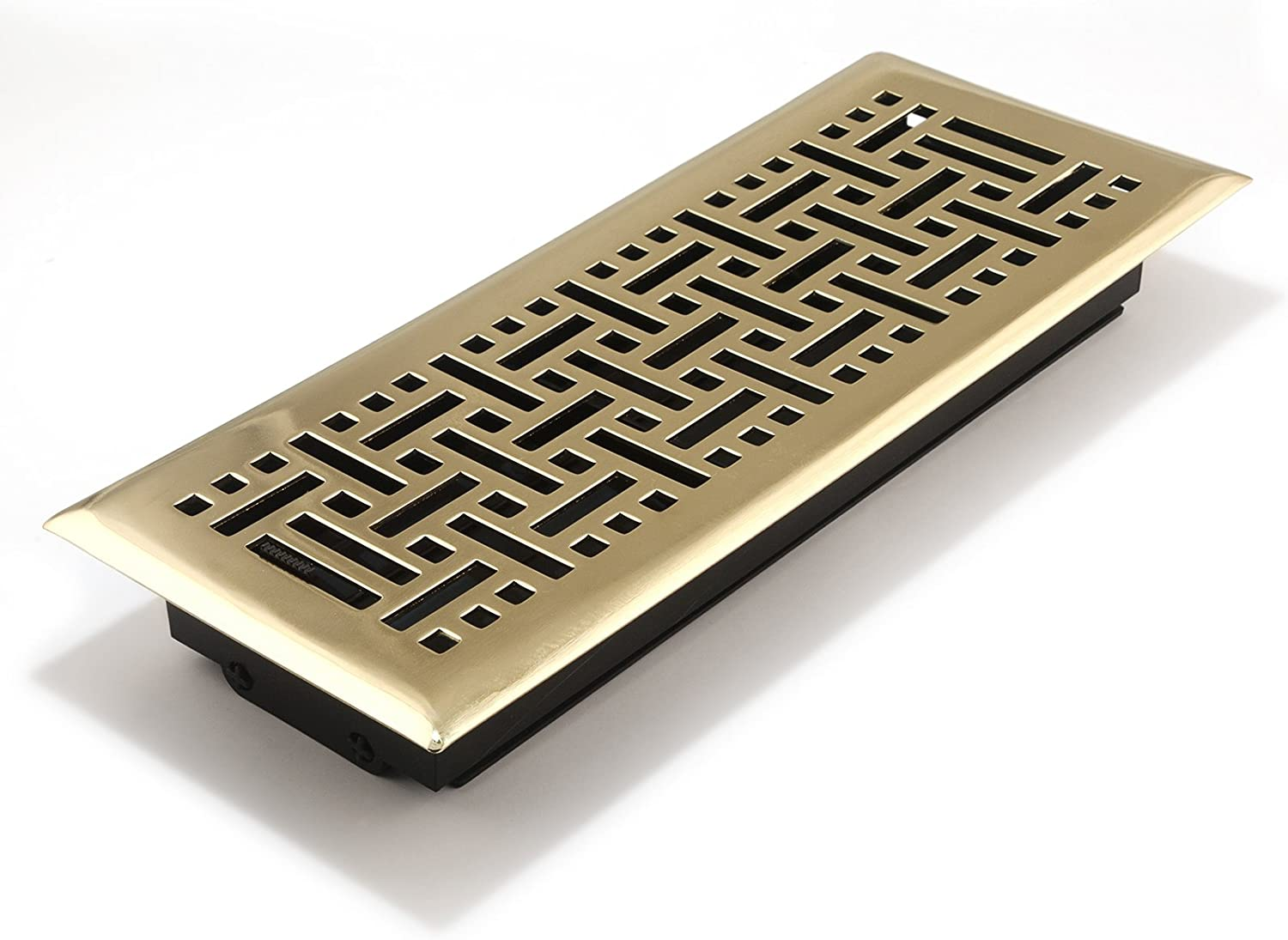 Accord Ventilation AMFRPBB412 Floor Register with Wicker Design, 4-Inch x 12-Inch(Duct Opening Measurements), Polished Brass
