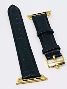 Custom Luxury Rolex Band with 24K Gold Plated Rolex Buckle for a 44mm or 42mm Apple Watch Any Series
