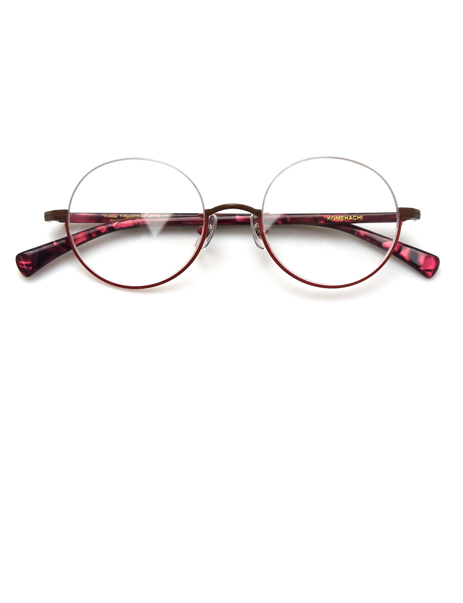 578c9b93722 Komehachi - Vintage Retro Round Under Semi Rimless Unisex Women Clear Lens  Eyeglasses Frames RX-Ready (Red)