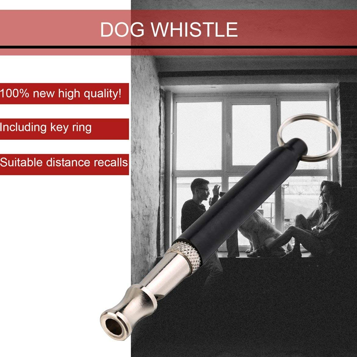 Pandamama Pet Tool New Pet Dog Training Whistle Obedience Supersonic Sound Pitch Ultra Sonic Quiet Discipline Metal Color//Black Key Ring Loop