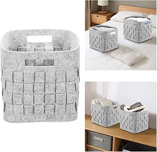 UK Grey Felt Storage Basket Clothing Toy Storage Bin with Handle Bedroom Closet