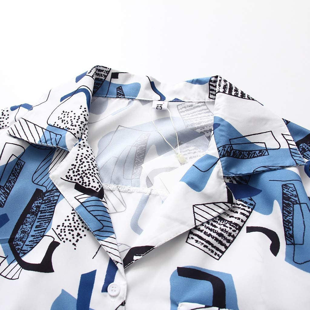 Fossen Blusas para Mujer Verano 2019 Elegantes Chic - Suelta Camisa de Coreano Manga Corta con Estampado Retro - Personalidad Blusa Originales para Oficina, Fiesta, Ocio, Vacaciones: Amazon.es: Ropa y accesorios