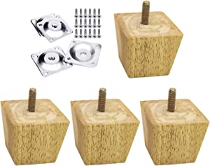Just E Joy 4PCS Furniture Legs Durable Oak Wood Replacement Parts TV Cabinet Home Sofa Feet