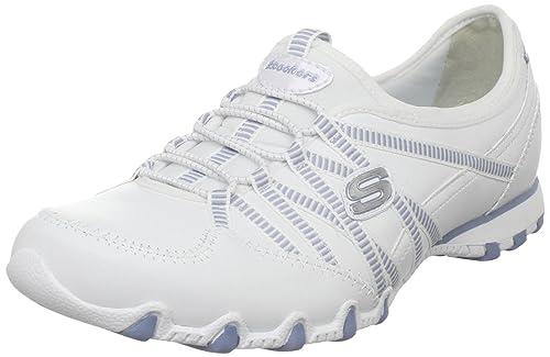 Skechers - Zapatillas para Mujer Blanco/Azul: Amazon.es: Zapatos y complementos