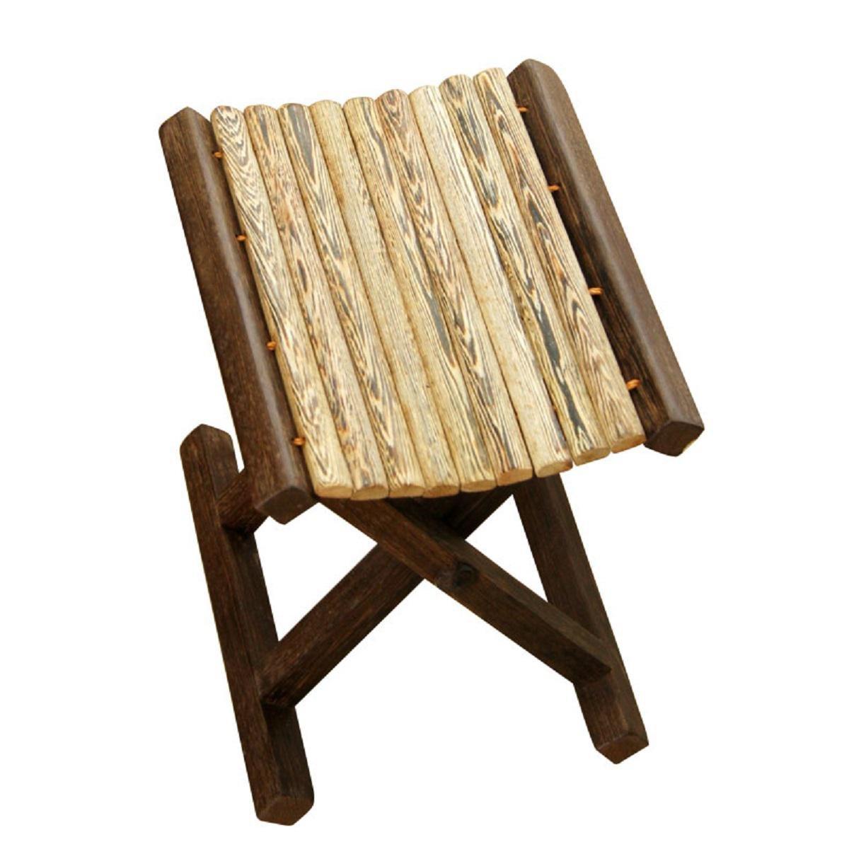GAOJIAN Retro Stools Solid Wood Campstool Folding Stool Outdoors Portable Fishing Stools Courtyard Stools , b