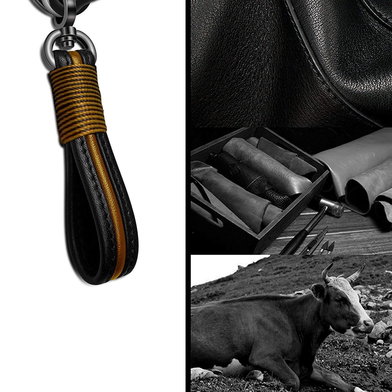 Handmade Genuine Leather Car Key Chain Key Ring for Men Women in Gift Box Fit Porsche Mercedes BMW Cadillac Lexus Ford Toyota VW Honda Super repairman Premium Leather Valet Keychain Black Yellow