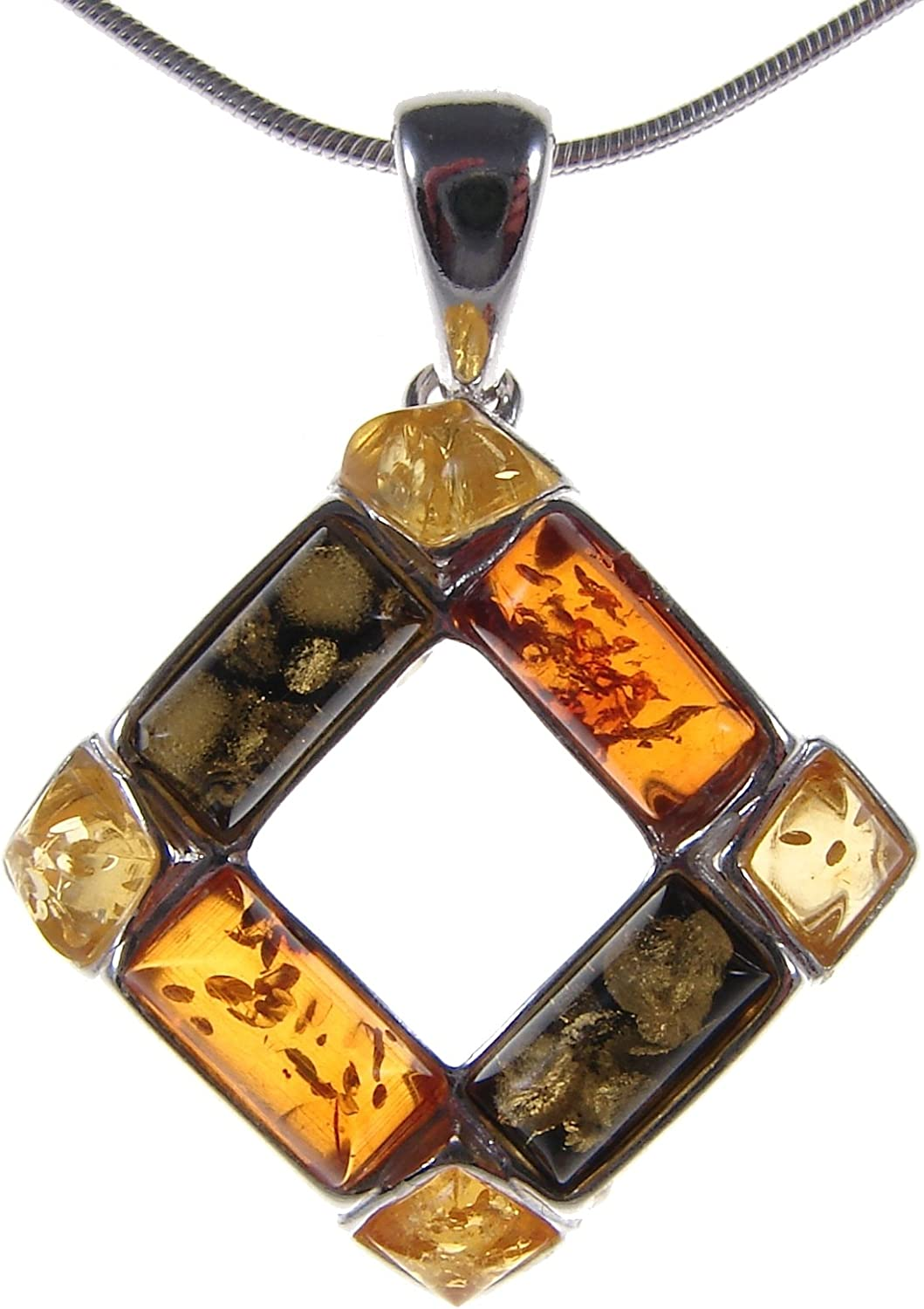 BALTIC AMBER AND STERLING SILVER 925 PENDANT NECKLACE 10 12 14 16 18 20 22 24 26 28 30 32 34 36 38 40 1mm ITALIAN SNAKE CHAIN