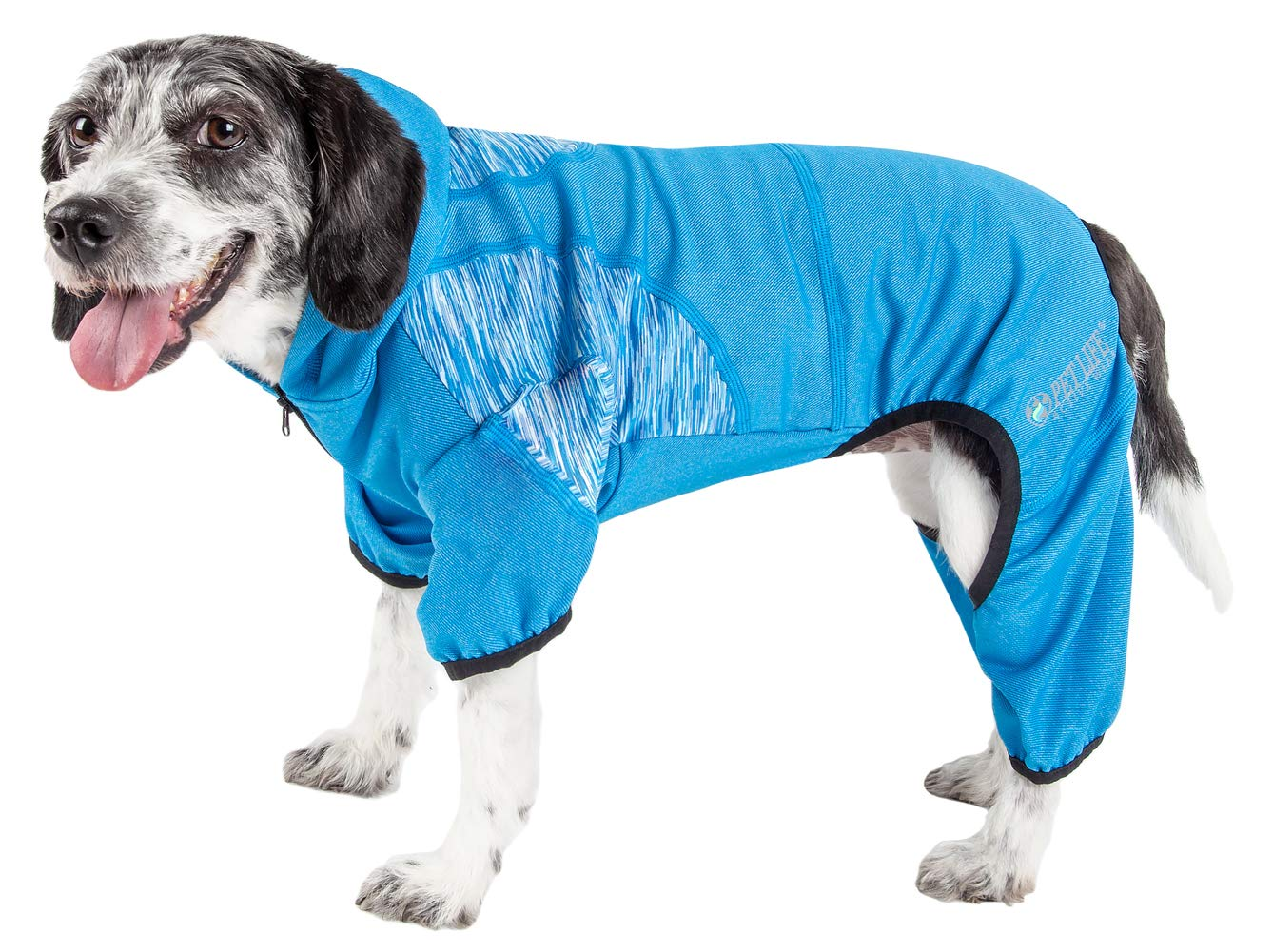 Pet Life Active 'Pawsterity' Heathered Performance 4-Way Stretch Two-Toned Full Bodied Hoodie, Large, Blue