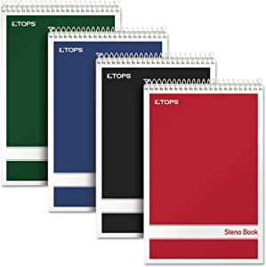 "TOPS Steno Books, 6"" x 9"", Gregg Rule, Green Tint Paper, Assorted Color Covers, 80 Sheets, 4 Pack (80221)"