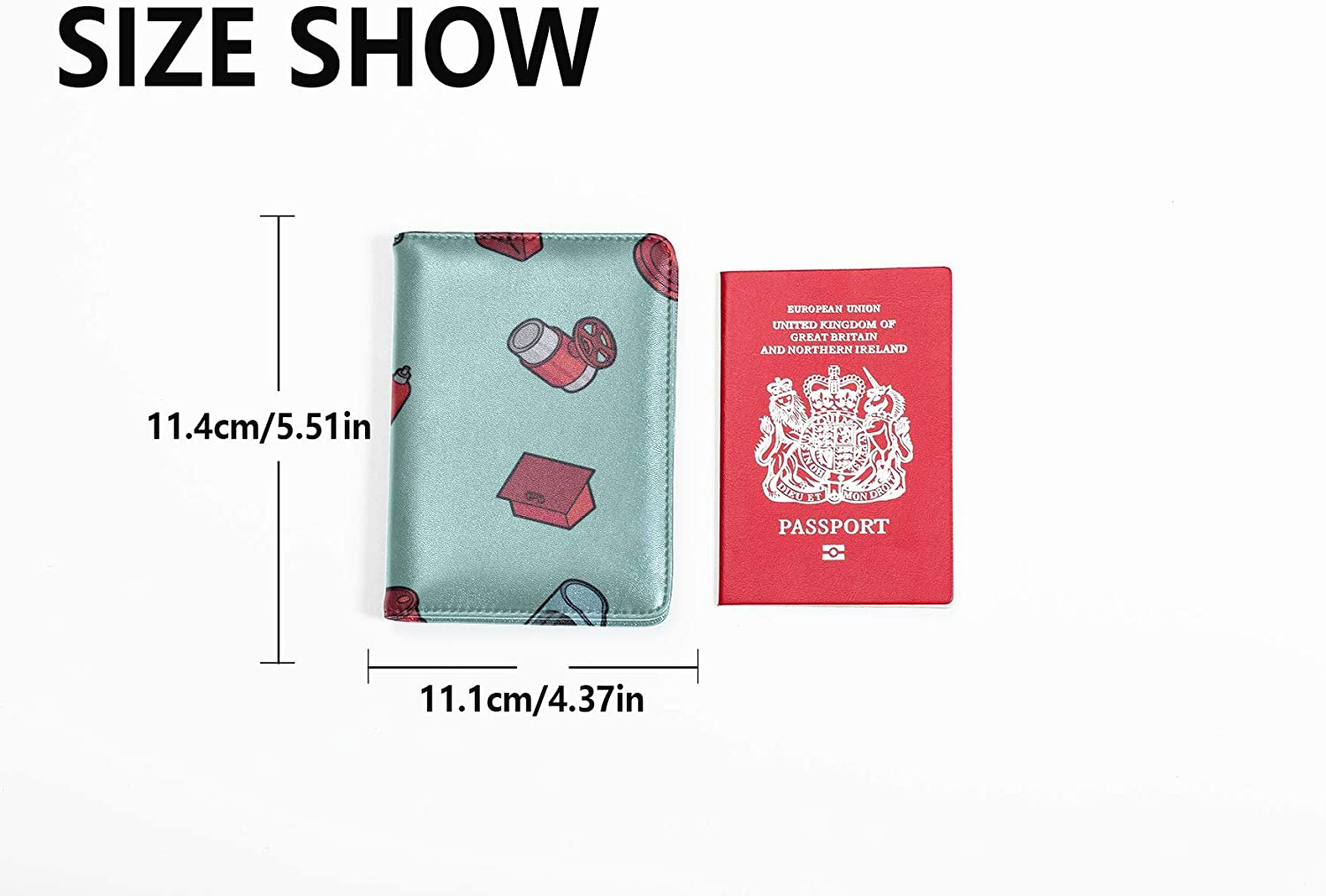 Mens Leather Passport Case Cute Creative Cartoon Fire Extinguisher U.s Passport Cover Multi Purpose Print Passport Cases Travel Wallets For Unisex 5.51x4.37 Inch