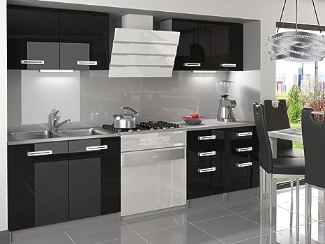 naka24 NEU Komplette Küche Infiniti I 160 cm Hochglanz Verschiedene  Farbkombinationen (Schwarz)