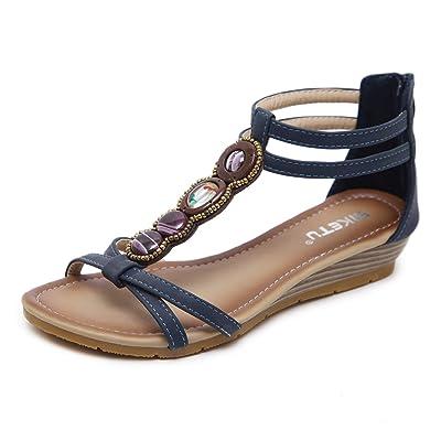 Dizadec Wedge Sandals for Women, Women Fashion Sandals Sweet Beaded Clip Toe Flats Bohemian Herringbone Sandals: Clothing