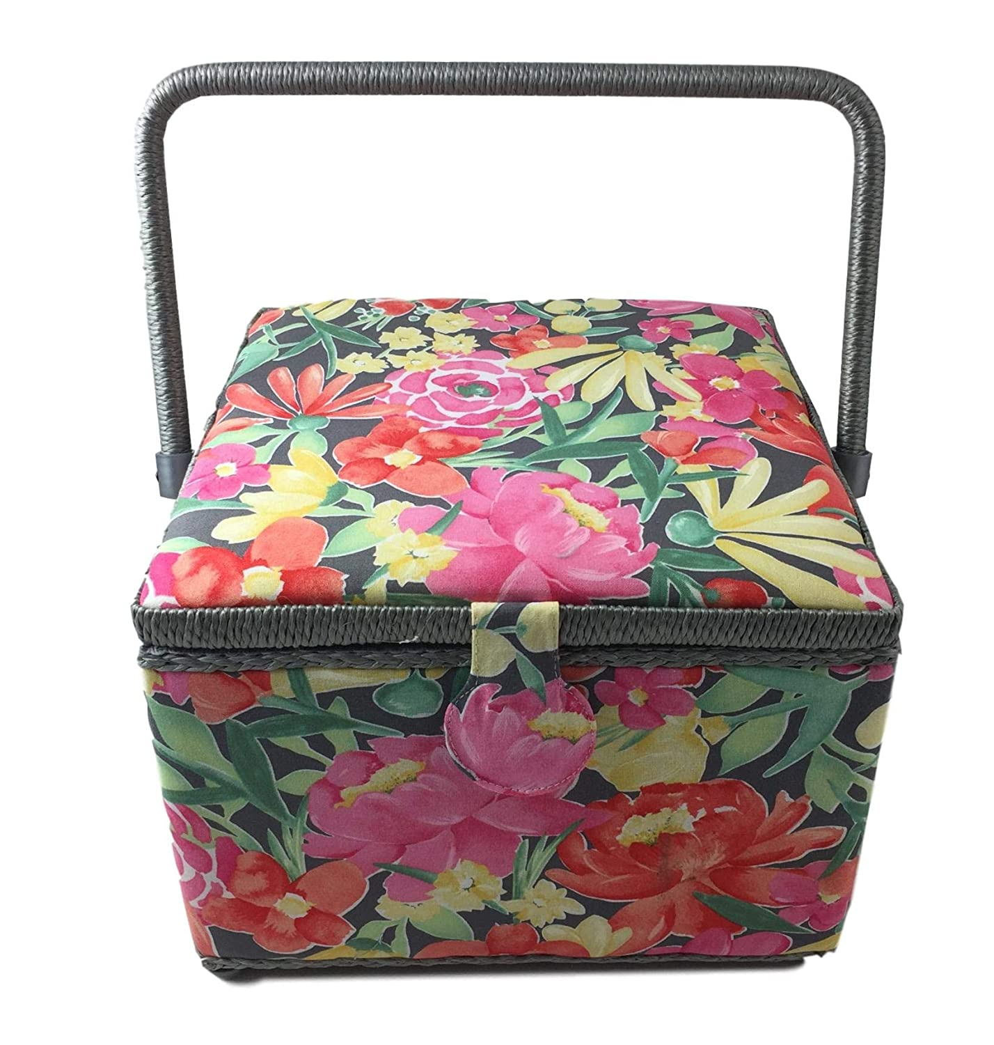 Jane Square Sewing Basket Box with Plastic Tray Organizer Dritz St Large 10x10x7, Pink Floral