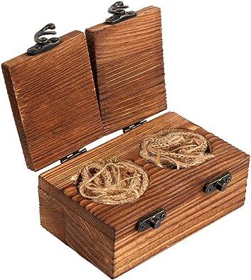 Caja de madera rústica para anillos de boda AerWo, caja de madera para anillos de compromiso, caja portadora de anillos de madera con cierre de arpillera para boda rústica de Woodland: Amazon.es: