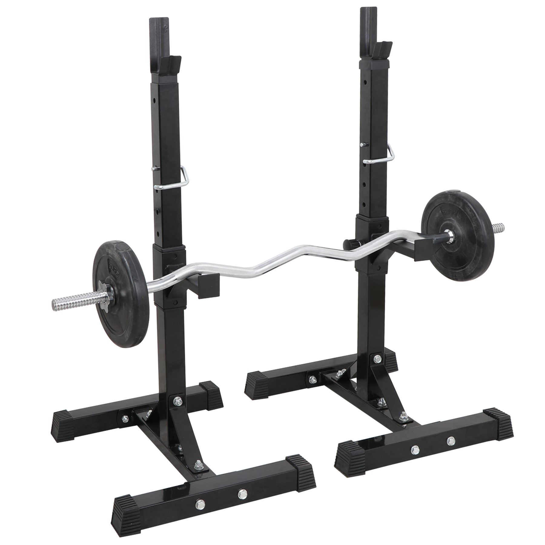 F2C Pair of Adjustable 41''-66'' Sturdy Steel Squat Rack Barbell Free Bench Press Stand Gym/Home Gym Portable Dumbbell Racks Stand Max 550lbs by F2C (Image #2)