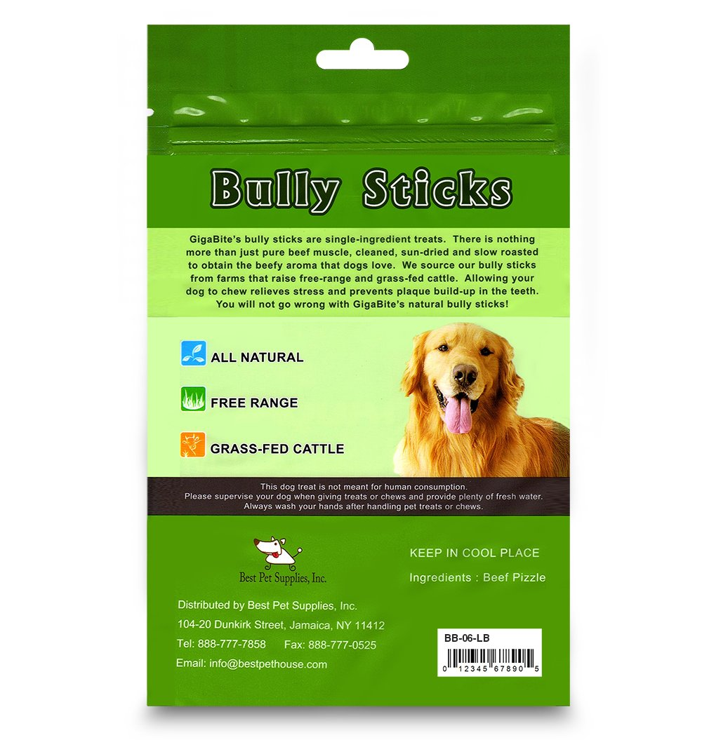 GigaBite 6 Inch Odor-Free Braided Bully Sticks (1-Pound) - USDA & FDA Certified All Natural, Free Range Beef Pizzle Dog Treat - by Best Pet Supplies by Best Pet Supplies, Inc. (Image #5)