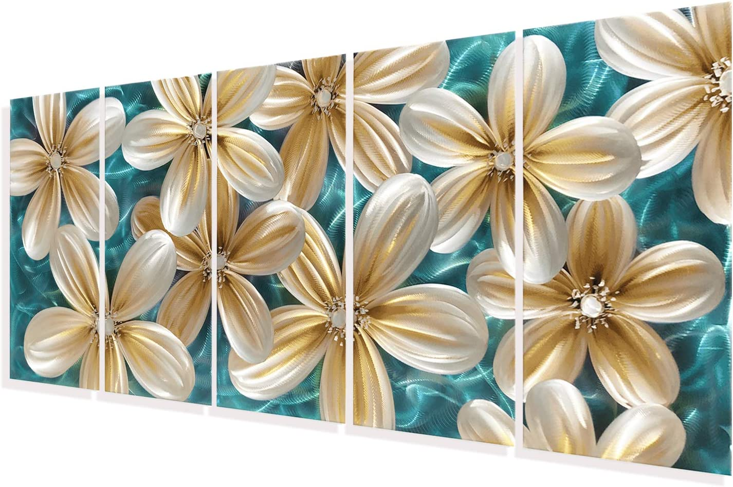 3D Modern Metal Wall Art Large Teal and Gold Decor Bright Colored Flower Polished Artwork on Aluminum for Living Room Set of 5 Pieces