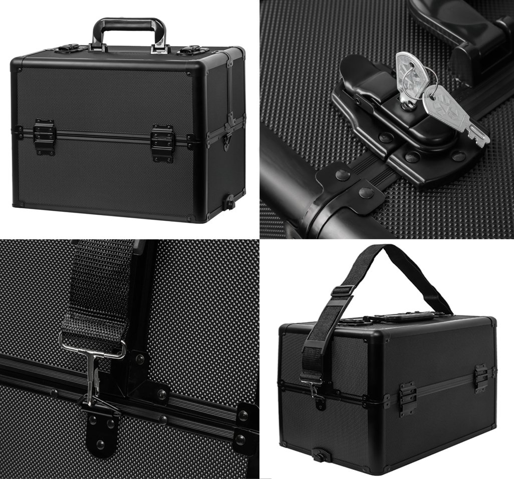 Koval Inc. 4-wheel Rolling 2in1 Makeup Train Cosmetic Case Black by KOVAL INC. (Image #6)