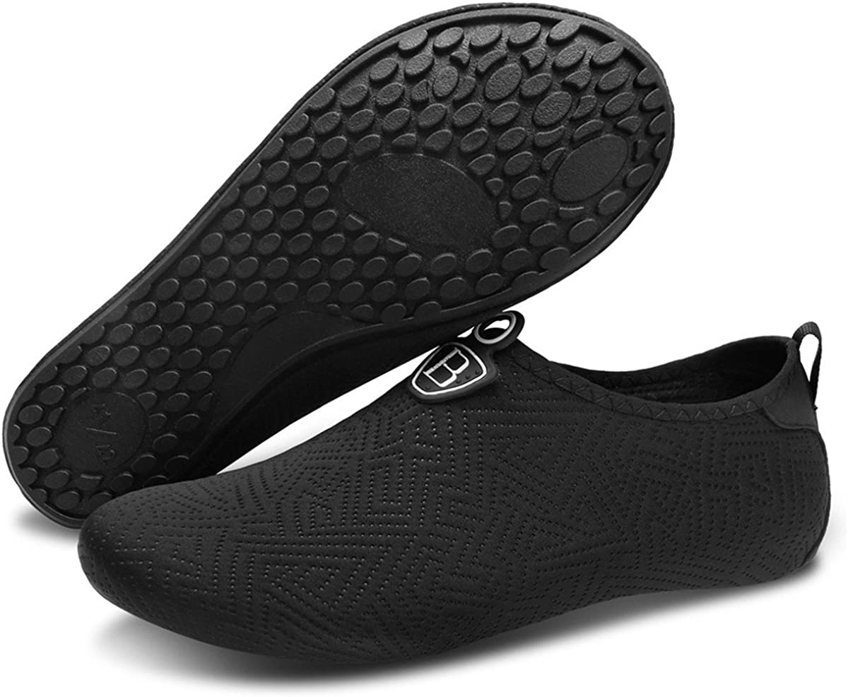 JOINFREE Women Mens Water Shoes Water Socks Ladies Aqua Shoes Beach Footwear Boys Pool Shoes Mens Surfing Swim Water Sport Shoes Summer Shoes 3a Black Lines