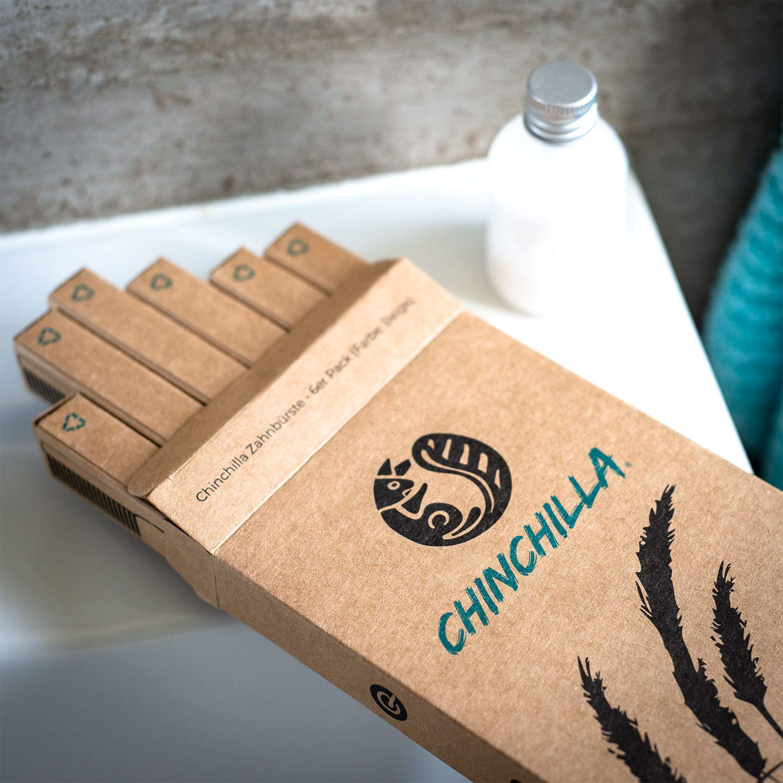 Chinchilla® 6 Pack Cepillo de dientes biodegradable - Mango de paja de trigo y cerdas de carbón activado - 100% libre de BPA, ecológico y vegano (beige): ...