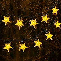 Solar String Light Outdoor, OxyLED 59ft 110 LED Christmas Star String Light Solar and USB Powered, 8 Modes Decorative…