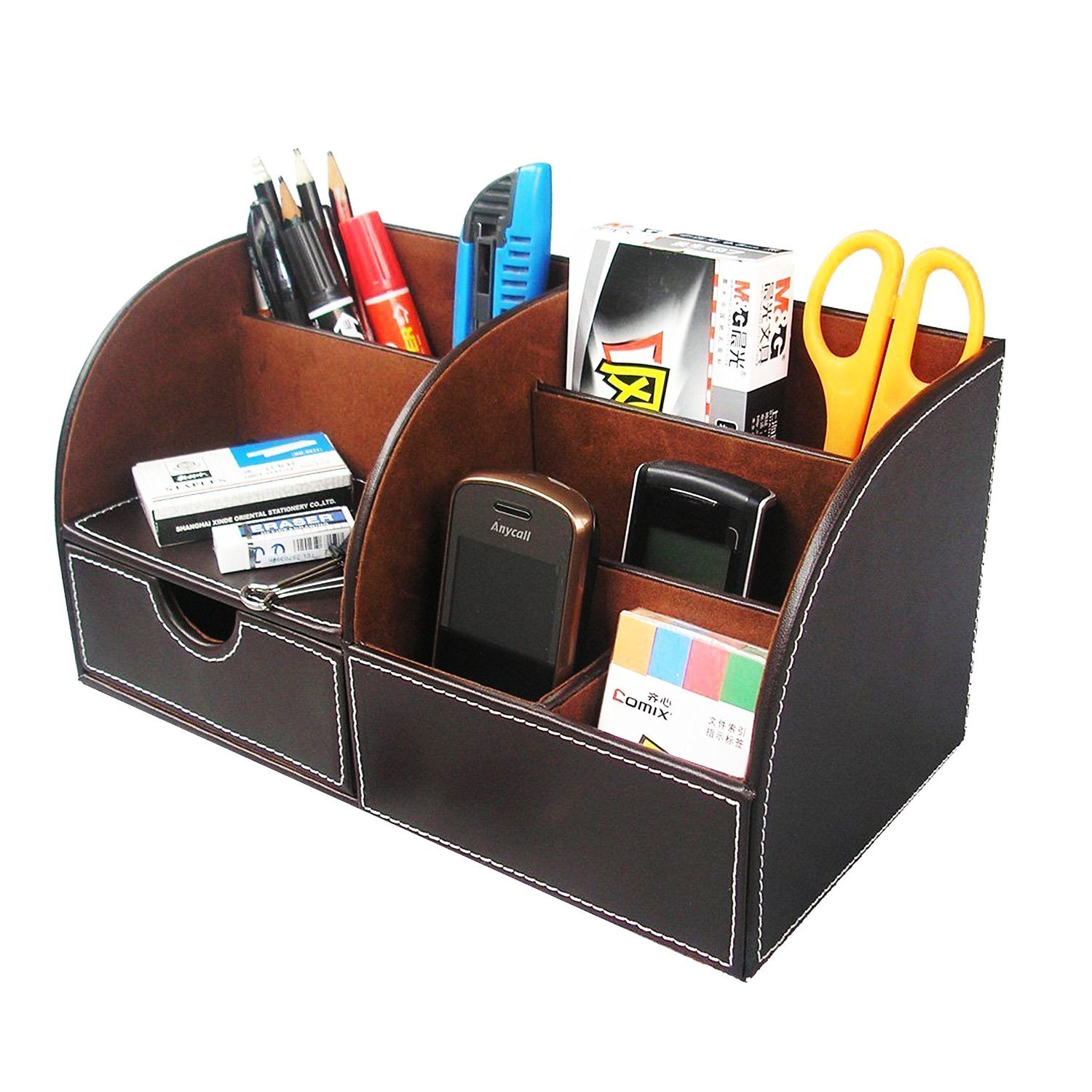Levin 7 Storage Compartment Multifunctional PU Leather Mesh Desk ...