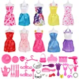 50 Pcs Doll Clothes Set -10 Pack Party Grown Outfits Clothes and 40 Pcs Different Accessories for Barbie Doll Girl's Birthday Christmas Gift Fashion Handmade Evening Party