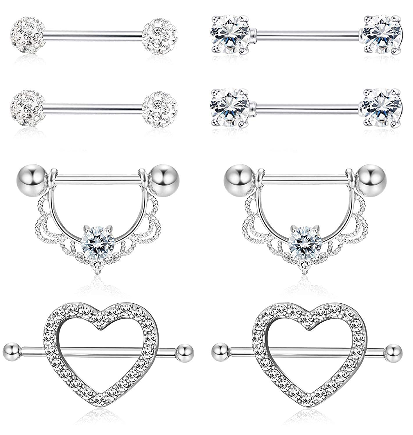 Subiceto 4 Pairs 14G Stainless Steel Nipplerings Nipple Tongue Rings CZ Opal Barbell Body Piercing Jewelry SO-P02-RG