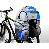 Double Rear Bicycle Bags, 65L Bicycle Pannier Bags Bike Rack Bag Water-resistance and Tear-resistance with Rain Coat