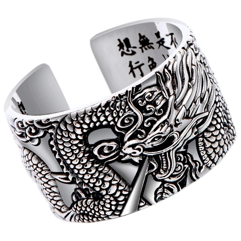 Beydodo Jewellery Dragon Rings Sterling Silver Size P 1/2