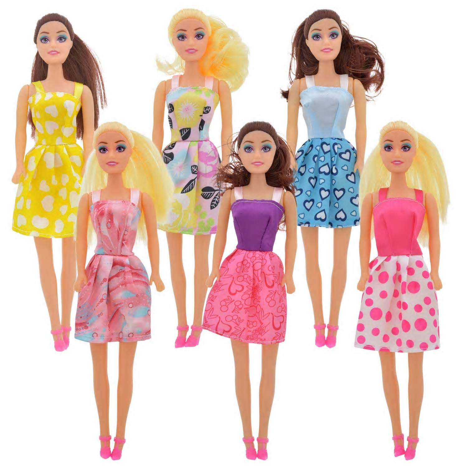 Set of 6 Set of 6 Unique Hairstyles /& Clothes in Individual Display Boxes 11 Color May Vary Meet Novelty American Fashion Beauty Dolls Great Girls Toys Birthday Party Favors Gifts 11