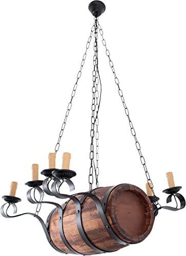 Metal Wood Rustic Wine Barrel Chandelier. Aged Wood Ceiling Hanging Candle Light,Pendant Light, 8-Light Fixture, Farmhouse Light with Candle Shaped Lights. 8-Lights