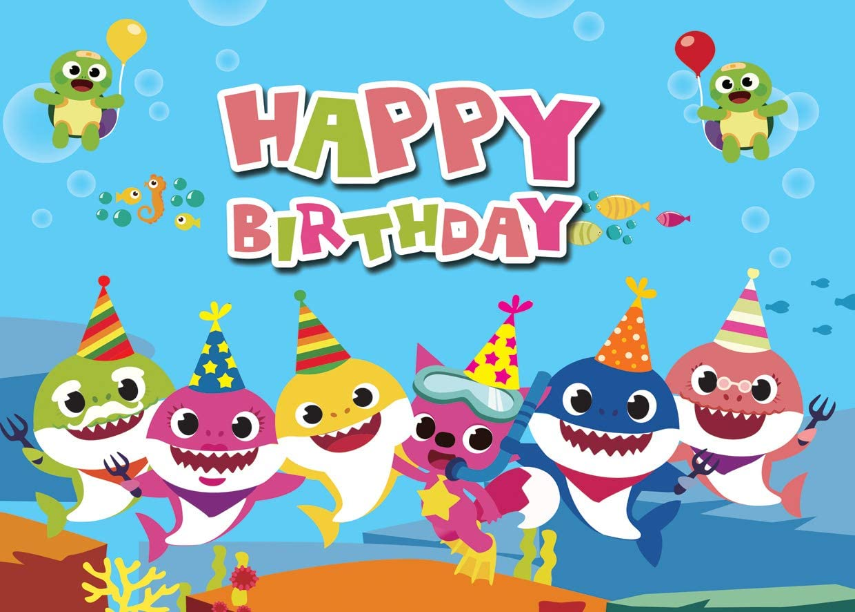 AIIKES 7x5FT Baby Shark Party Backdrop Vinyl Birthday Photo Background Undersea World Shark Whale Tortoise Photography Backdrop Photo Studio Props Cake Party Decoration 11-471