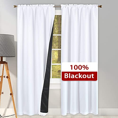 SUOCAI 84 Inches Long 100 Pct Blackout Curtains for Bedroom – Heat and Full Light Blocking Drapes for Nursery Super Heavy Energy Saving Double Layer Rod Pocket Curtains 2 Panels Pure White