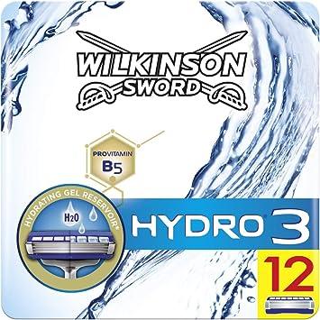 Wilkinson Sword BOX Hydro 3 - Pack 12 Recambio de Cuchillas de Afeitar de 3 Hojas para Hombres, Afeitado Masculino: Amazon.es: Salud y cuidado personal