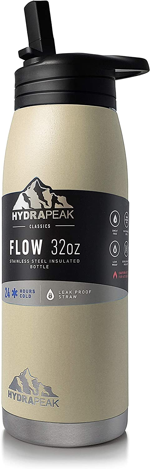 Hydrapeak Flow 32oz Stainless Steel Water Bottle | Vacuum Insulated Thermos | BPA-Free and Leak-Proof | Wide Mouth Flask with Bite Straw Non-Slip Handle | On The Go Personal Canteen