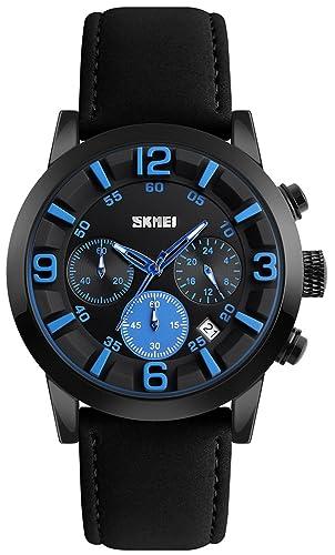 Nueva de piel Para Hombre Relojes primera marca reloj de cuarzo los hombres de negocios multifunción resistente al agua reloj de pulsera: Amazon.es: Relojes