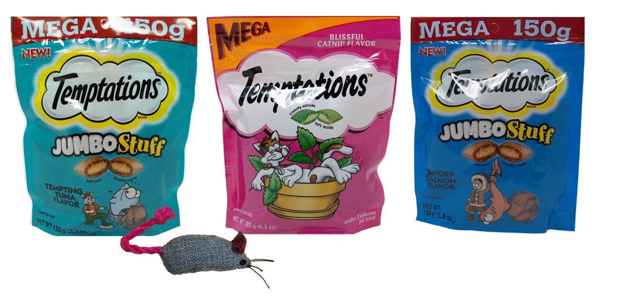 Temptations Mega Size Low Calorie Cat Treats 3 Flavor Variety with Toy Bundle, 1 each: Tempting Tuna Jumbo Stuff, Blissful Catnip, Savory Salmon Jumbo Stuff (5.3-6.3 Ounces)