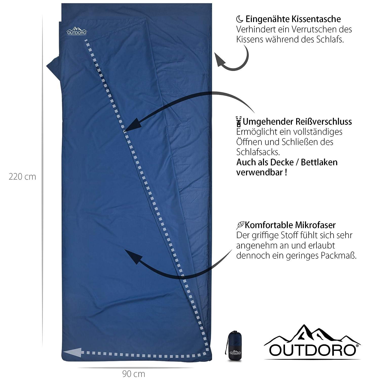 outdoro cabaña Saco de dormir, ultra ligero de viaje saco de dormir – Solo 350 g de microfibra con almohada de compartimento – fina, pequeño, compacto ...