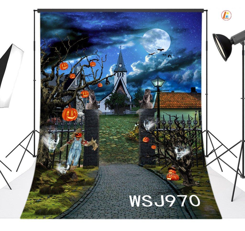 LB 5x7ft Halloween Vinyl Photography Backdrop Pumpkin Scarecrow Photo Background Studio Prop Customized WSJ970 by LB