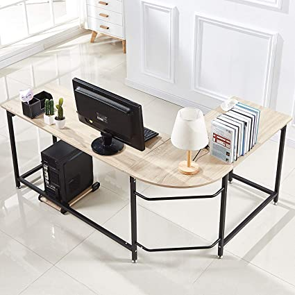 Hago Modern L Shaped Desk Corner Computer Desk Home Office Study  Workstation Wood U0026 Steel