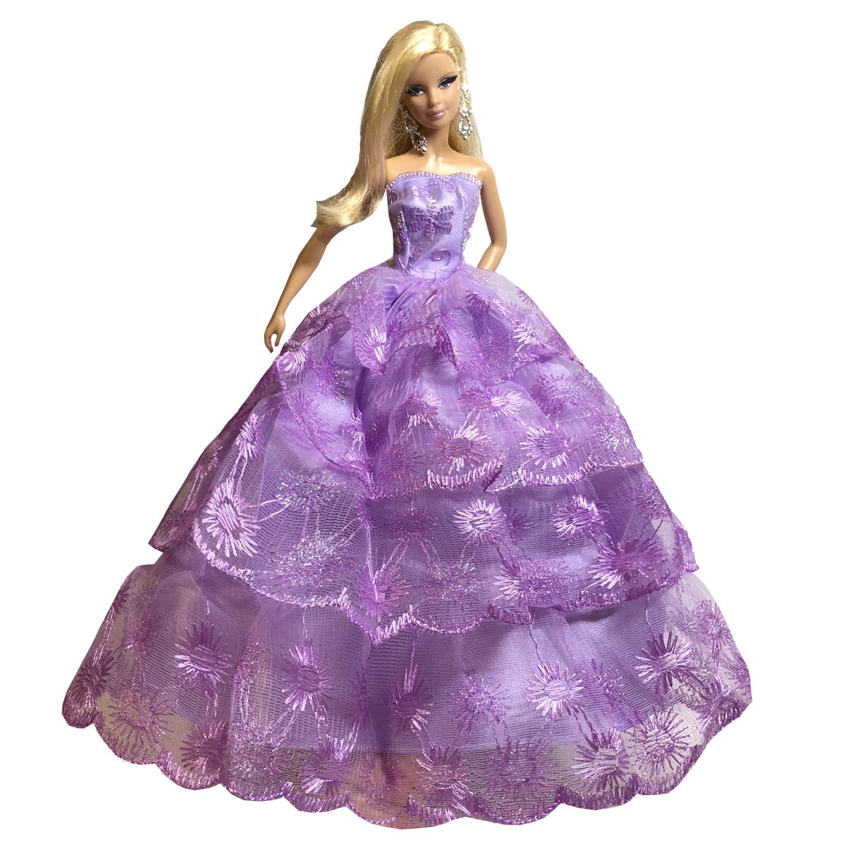 Peregrine Ice Purple Lace Layered Ruffle Gown Dress for 11.5 inches Dolls /& Other 30 cm