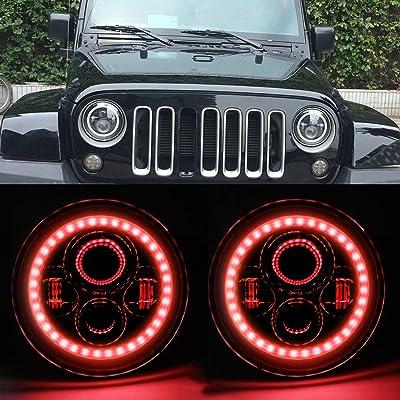 HOZAN 7inch Hi/Low Beam Jeep LED Headlights with Red Halo Ring Led Angel Eyes for Jeep Wrangler JK JKU TJ CJ LJ Rubicon Sahara-2 Pack: Automotive