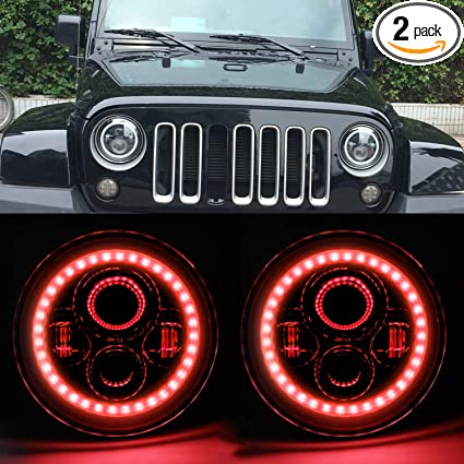 Jeep Halo Headlights >> Hozan 7 Projector Led Headlight With Red Drl Halo Ring For Jeep Wrangler Tj Cj Lj Jk Jku Rubicon Sahara